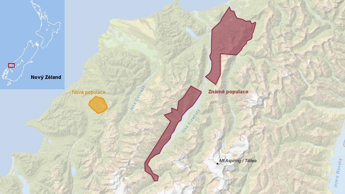 Mapa výskytu kivi jižního na Novém Zélandu